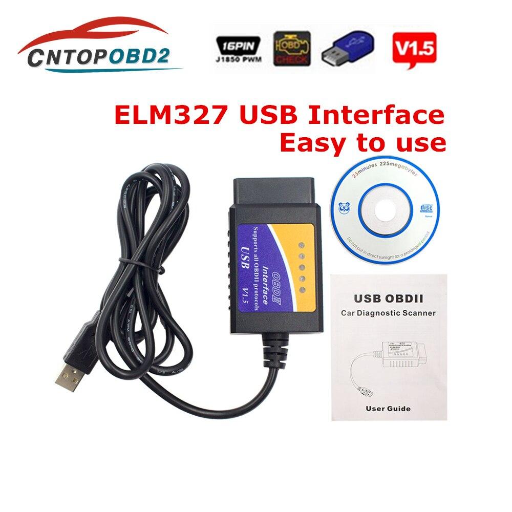 OBD2 ELM327 USB V1 5 Auto Scanner ELM 327 WIFI V1 5 Car Diagnostic Tool Support OBDII All Protocols Code Reader For Windows