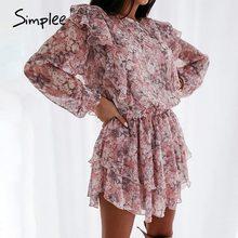 Simplee women floral print dress Elegant puff sleeve a-line chiffon sash dress High waist work wear office lady pink dress 2020
