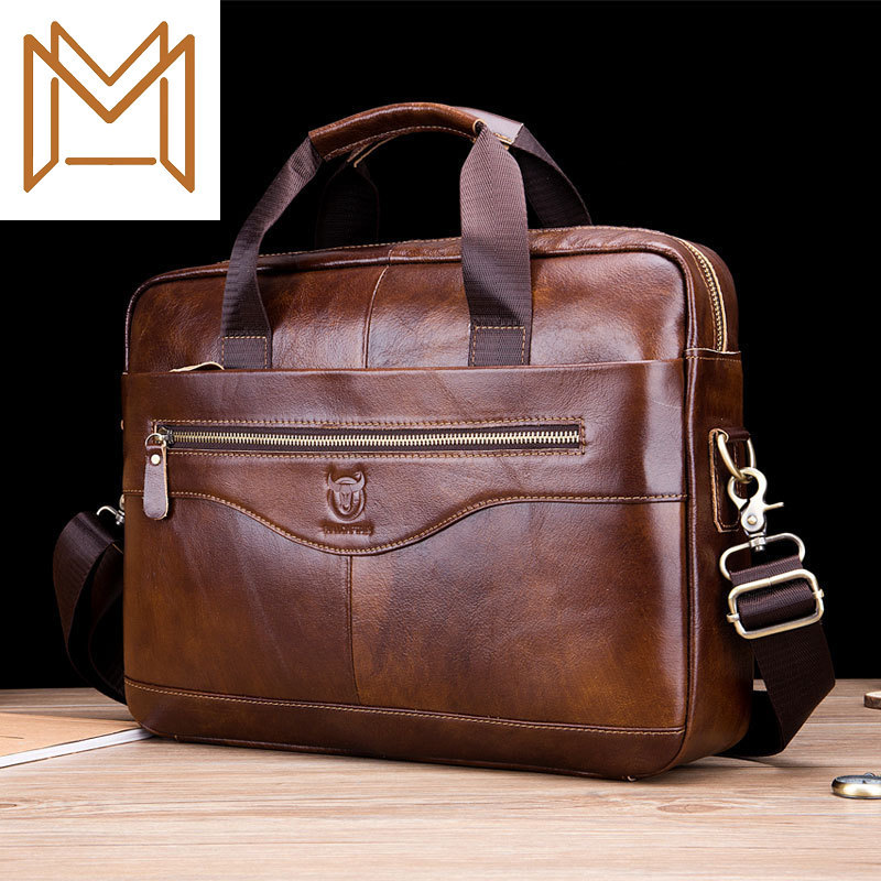 Man Genuine Leather Single Shoulder Messenger Male Layer Cowhide More Function Portable Briefcase