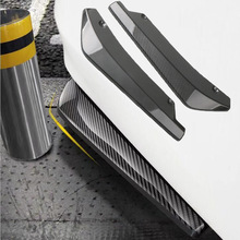 1 Pair Carbon Fiber Car Rear Bumper Lip Diffuser Splitters Protection Side Extensions