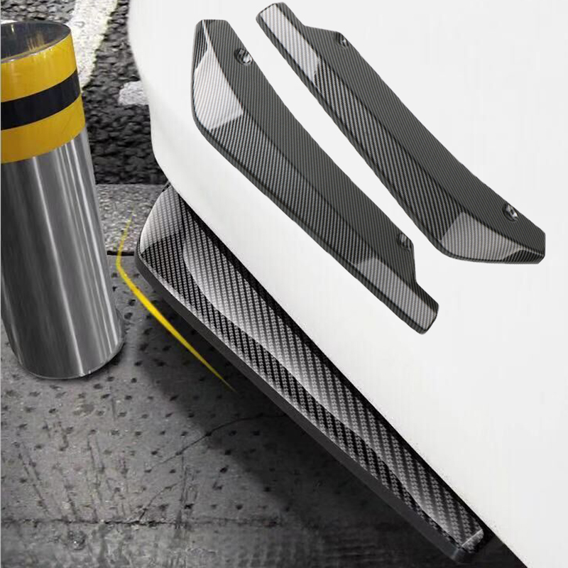 1 Pair Carbon Fiber Car Rear <font><b>Bumper</b></font> Lip Diffuser Splitters Protection Side Extensions For BMW W204 E90 <font><b>E92</b></font> For Benz For Audi A4 image