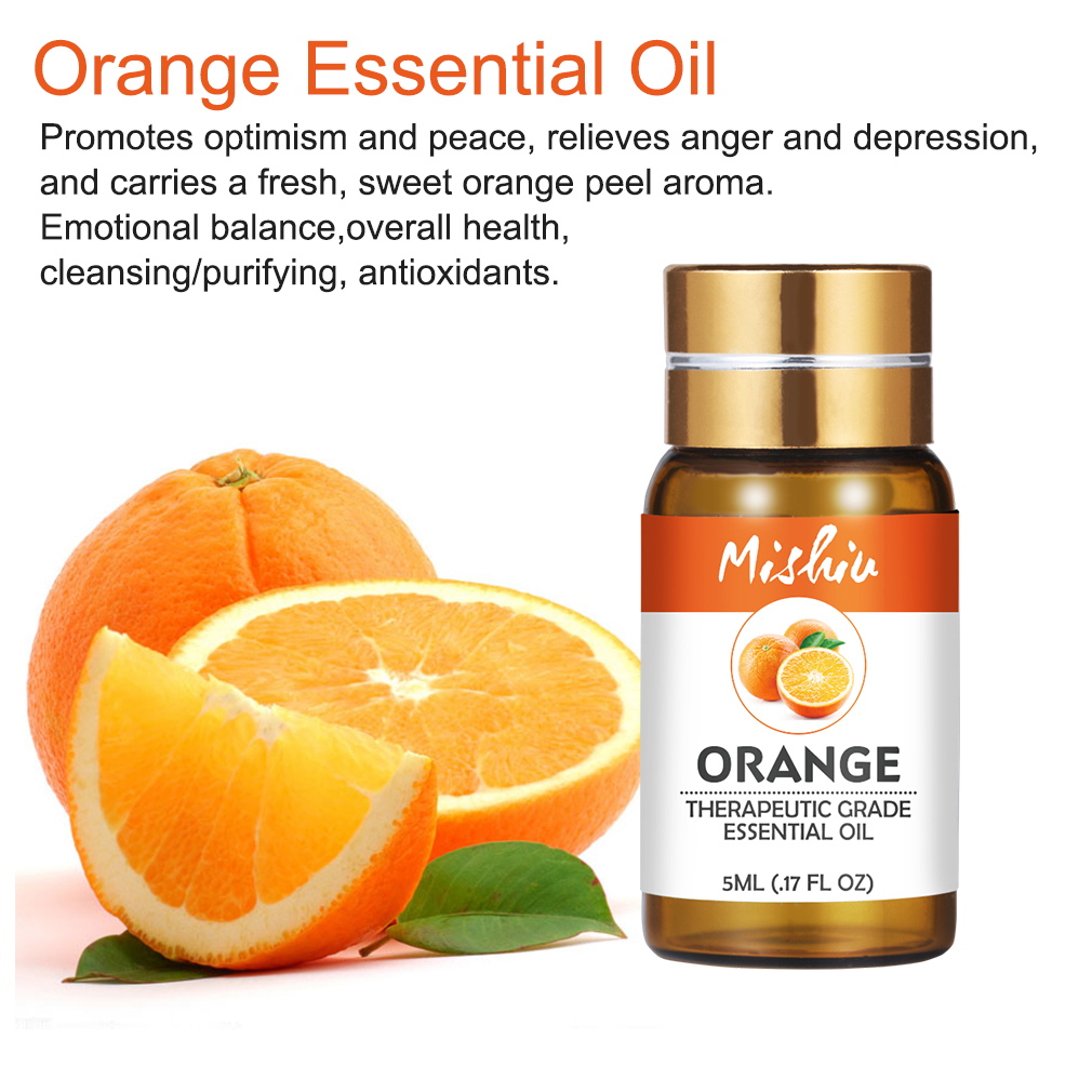 Mishiu 5ML Orange Essential Oil Emotional Balance,overall Health,Humidifier Fragrance Lamp Air Freshening Aromatherapy Body Oils