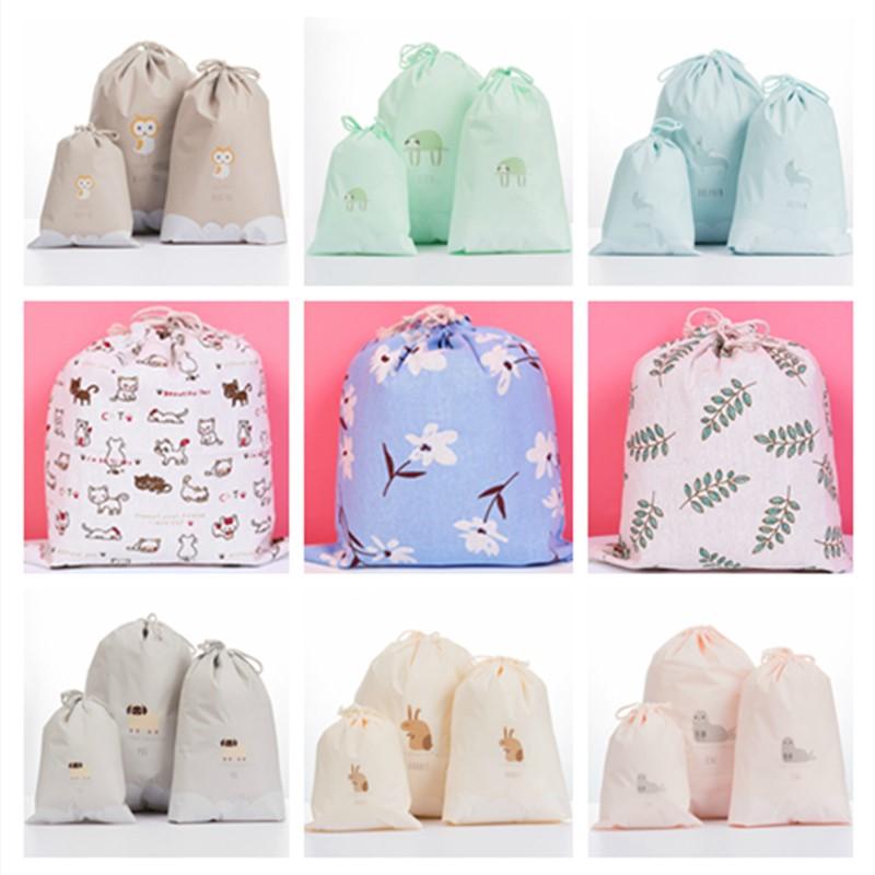 Vogvigo Printing Drawstring Bags Cute Student Bag Travel Pouch Shoes Storage Clothes Handbag Cosmetics Wash Bags For Women