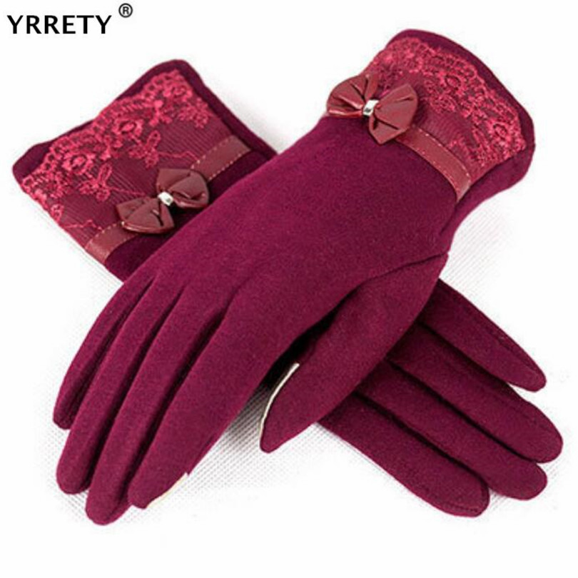 YRRETY Women Gloves Wool Winter Driving Full Finger Windproof Guantes Autumn Warm Knit Lace Mittens Female Cashmere Bow Gloves