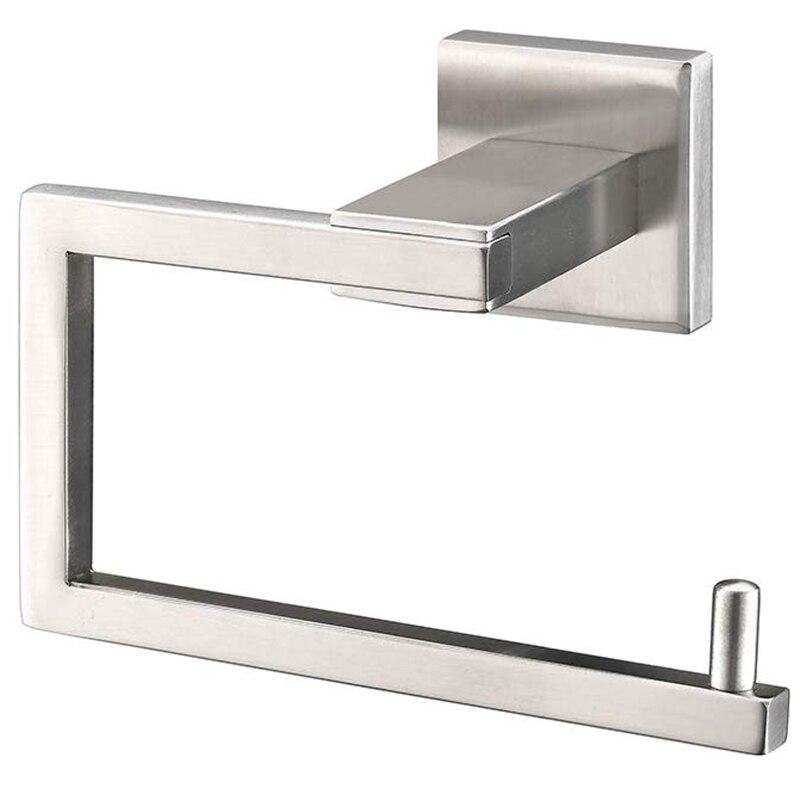 HTHL-304 Stainless Steel Bathroom Toilet Paper Holder And Dispenser Wall-Mounted Roll Holder Square Toilet Paper Holder Brushed