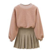 Students Suit College Style Fall And Winter Lamb Top Pleated Skirt Twinset Pullover Sweater Korean Fashion 2 Pcs Clothing Set цена и фото