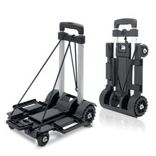 Black Folding Luggage Cart Light Aluminum Collapsible Portable Fold Up Dolly Hand Truck for Travel Moving and Office Use