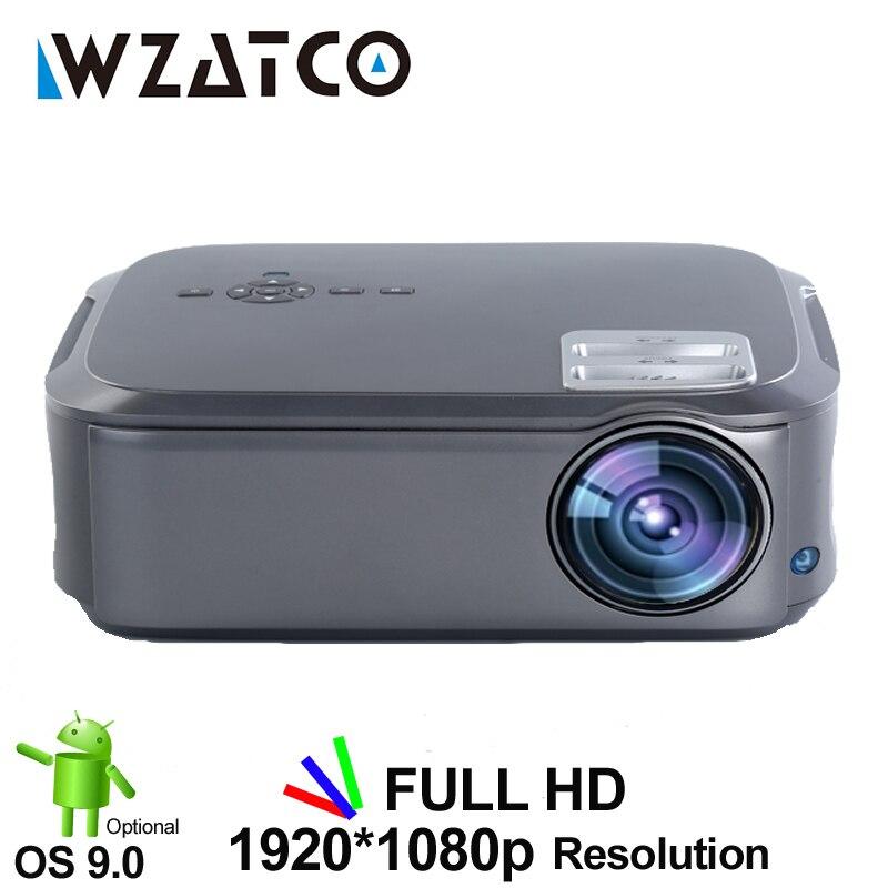 Wzatco ct58 completa hd 1920*1080 p suport ac3 4 k vídeo em linha android 9.0 wi fi vídeo inteligente led projetor proyector para o cinema em casa