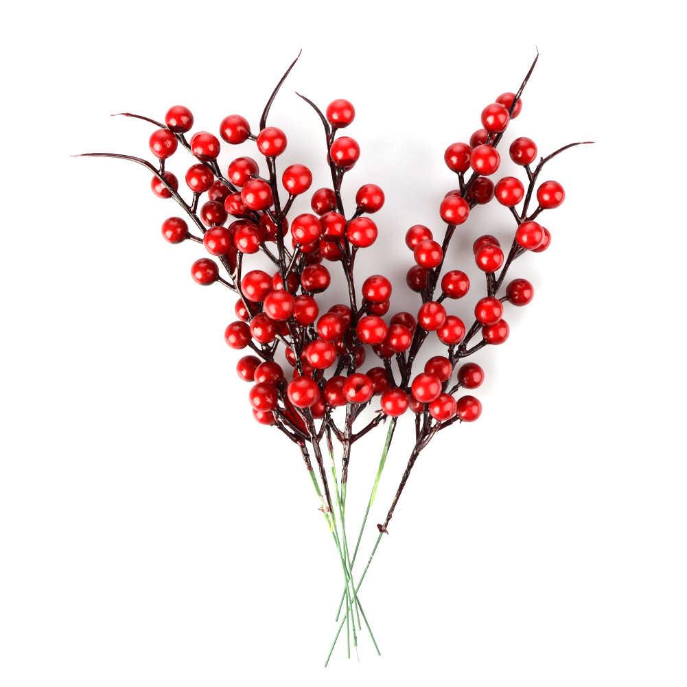 10Pcs Buatan Rumah Pine Cone Berry Merah Buket Bunga Cabang Natal Dekorasi Pesta Pernikahan Dekorasi Meriah Persediaan 26Cm