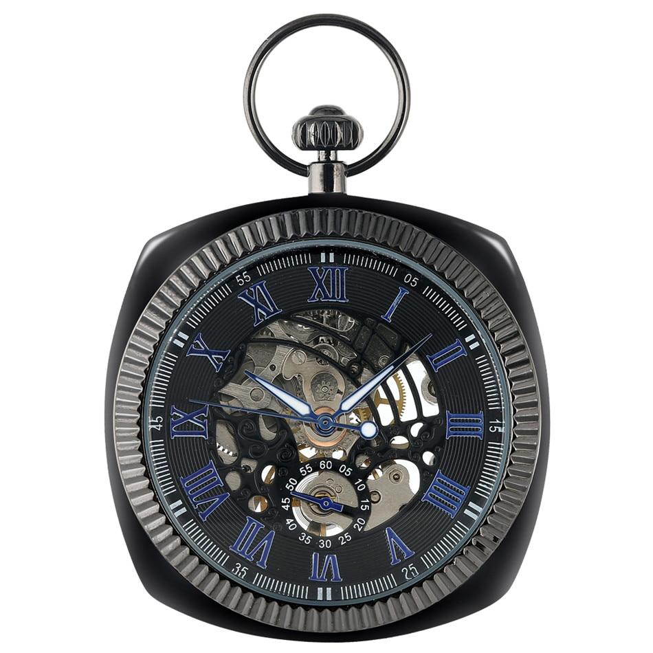 Retro Black Hand Winding Mechanical Pocket Watch Blue Roman Numerals Display Pendant Pocket Watch Luxury Vintage Clock Men Women