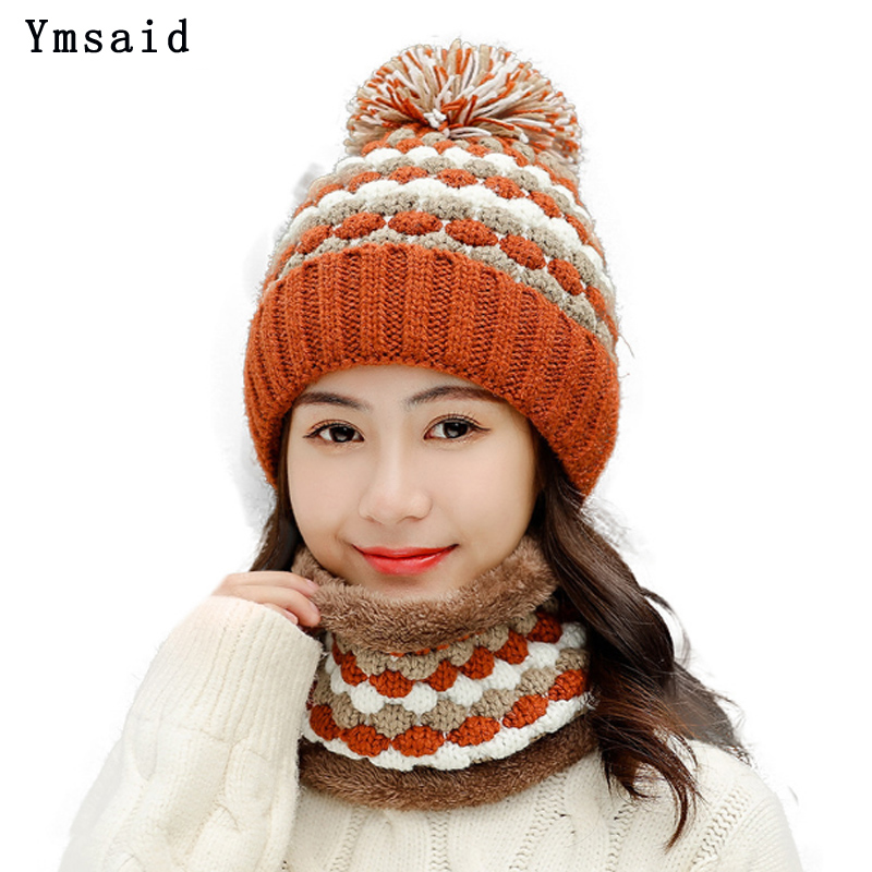 New Winter Women's Ski Cap Hat Scarf Set Knitted Warm Beanies With Three Pompom Ball Female Balaclava Wool Thicken Hat Scarf Set