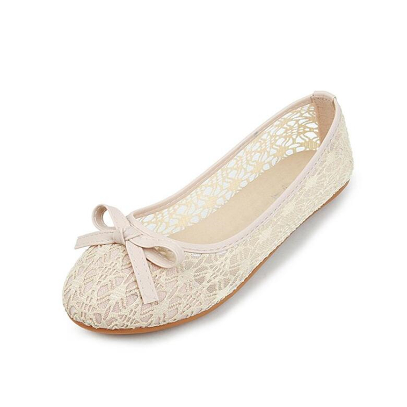 Women Flat New Summer Lace Shallow Mouth Shoes Woman Breathable Sandals Lace Mesh Ballet Flats Cute Clogs Shoes Bow