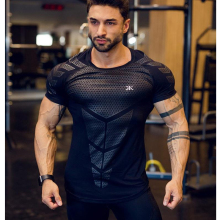 все цены на Fitness Workout T-Shirt Tightness Men High Elastic Training Quick Dry Running T Shirt Men Short Sleeve Gym Shirts Men PRO Shirts онлайн