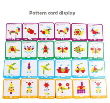 These are the design cards for the 155 piece tangram block set. they show some ways to place the pieces together