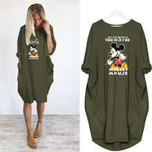 2019 Fashion Women Spring Autumn Long Sleeve Dress Casual Loose Plus Size Dresses O-neck Pocket Mickey Cartoon Short Dress цены
