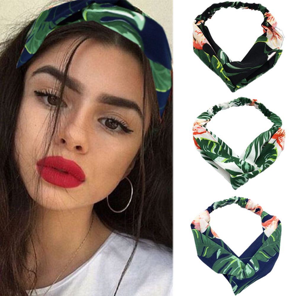 Fashion Lady Hair Accessories Turban Headbands Cross Knotted Bandanas Elastic Flower Prints Hairband Head Wrap For Girls