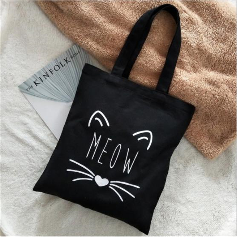 Fashion Meow Cat Ear Canvas Bag Women Girls Simple Large Capacity Storage Handbag Shoulder Bag Tote Reusable Shopping Bag