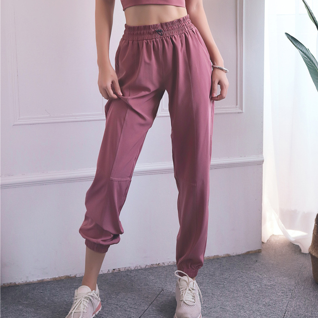 BINAND Sports Pants Women High Waist Loose Gym Pants Ladies Pocket Fitness Pants Training Trousers Solid Thin Running Trousers
