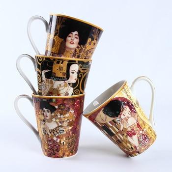 Gustav Klimt Series Famous Oil Painting KISS WAIT Artwork Mug Coffee Tumbler Milk Breakfast Cup Taza Gato Xicara Koffie Kopjes