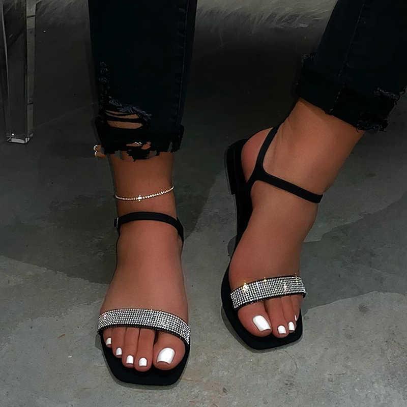 Taklidi kadın sandalet 2020 yeni yaz düz alt açık ayak tüm maç seksi roma düz renk artı boyutu kadın rahat sandalet
