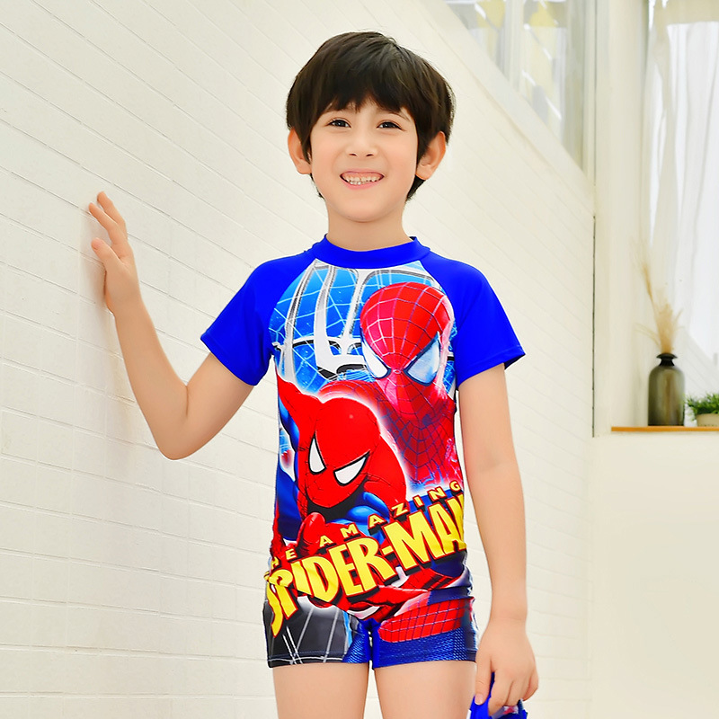18 New Style Hot Sales One-piece Swimming Suit Stand Collar Short Sleeve Shorts Spider-Man Pattern Ultra-stretch Quick-Dry BOY'S