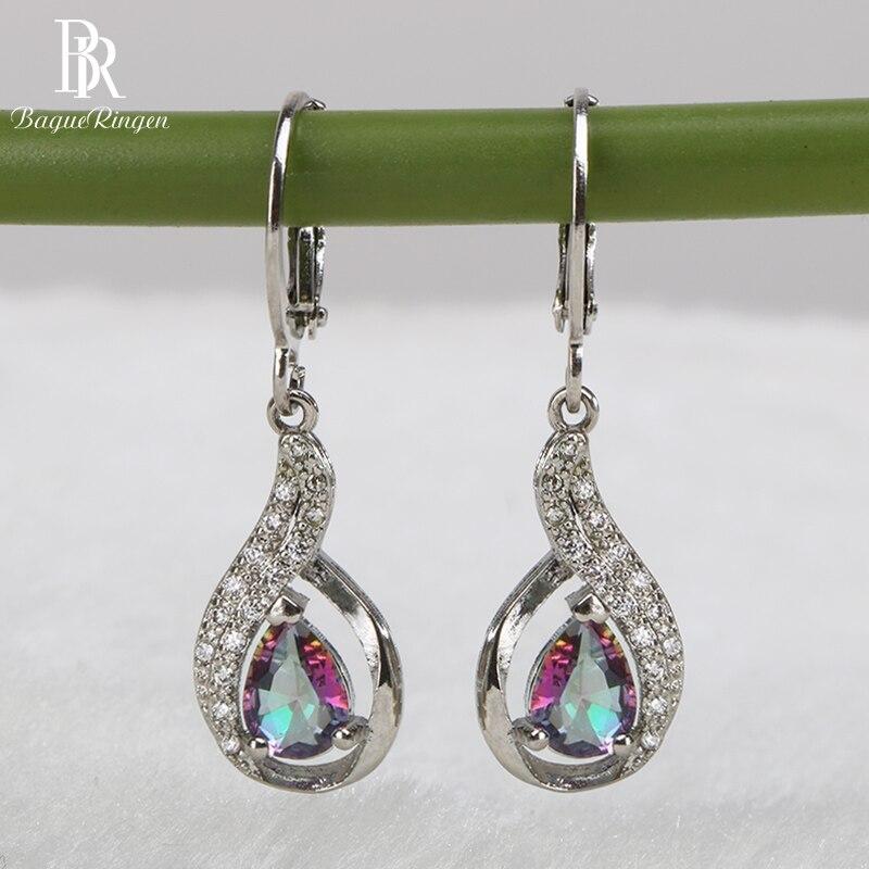 Bague Ringen Fashionable Silver 925 Jewelry Rainbow Topa Stone Earrings for Women Water Drop Shape Drop Earrings High Quality