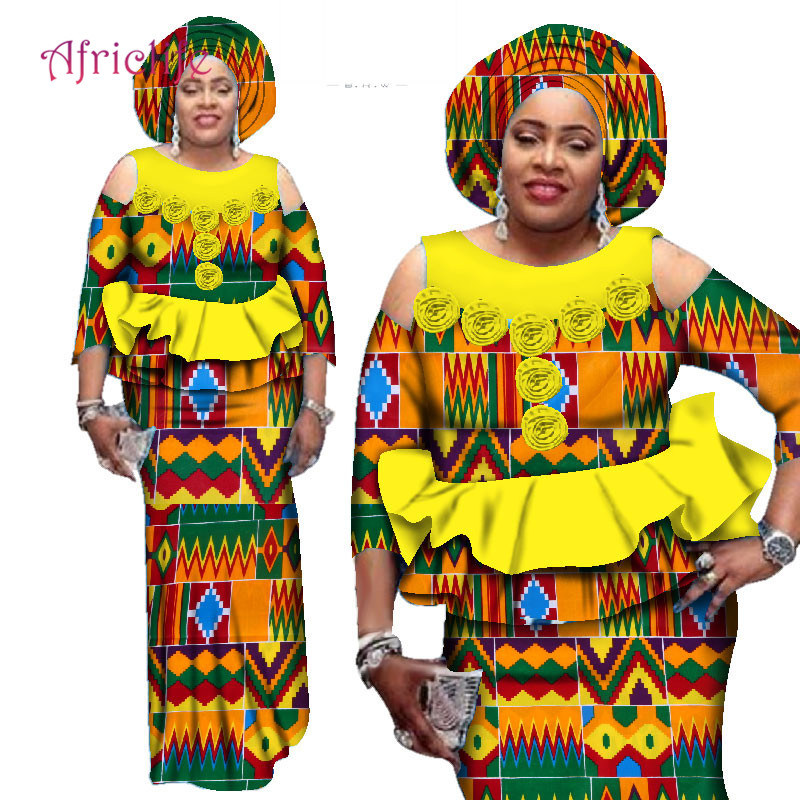 Super Deals African Skirt Sets For Women Dashiki Bazin Riche Patchwork Plus Size African Lady Traditional Clothing WY2544