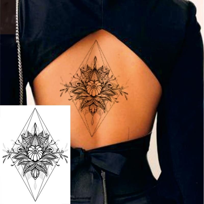 1 PIECE Black Geometric Flower Back or Chest Big Waterproof Temporary Tattoo Body Art Sexy Waist Fake Tatoo
