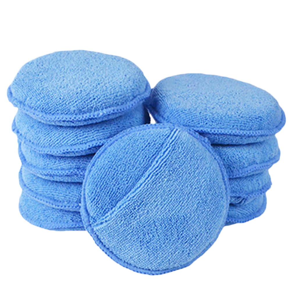 Soft Microfiber Car Wax Application Pad Polishing Sponge To Apply And Remove Automatic Care Wax 1 Pc Or 10 Pcs.