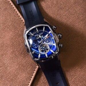Image 3 - Дизайнерские спортивные часы Reef Tiger/RT с турбийоном, из нержавеющей стали, с резиновым ремешком и синим циферблатом, автоматические часы RGA3069