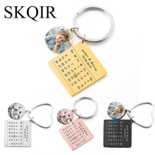 Custom Color Photo Car Key Chain Personalized Couple Name Calendar Birth Date Tag Keychain Heart Keyring Women Jewelry Love Gift