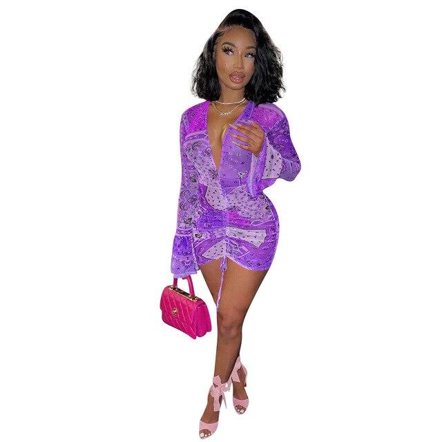 PING ZHAO Bandana Print Mesh Sheer Bodycon Dress Women Party Club Wear See Through Drawstring Long Sleeve Dresses 5