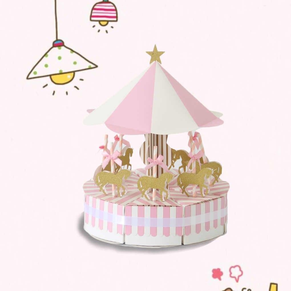 Caixa de doces carrossel chá de fraldas bonito mesa de aniversário do casamento peça central decoração caixa de presente de chocolate presentes
