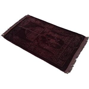 Image 4 - سجادة عادي مصلاة للمسلمين قماش راشيل القطيفة تتميز بتصميم مستطيل وهدب على كلا الجانبين سجادة للصلاة الإسلامية 65 × 110 سنتيمتر