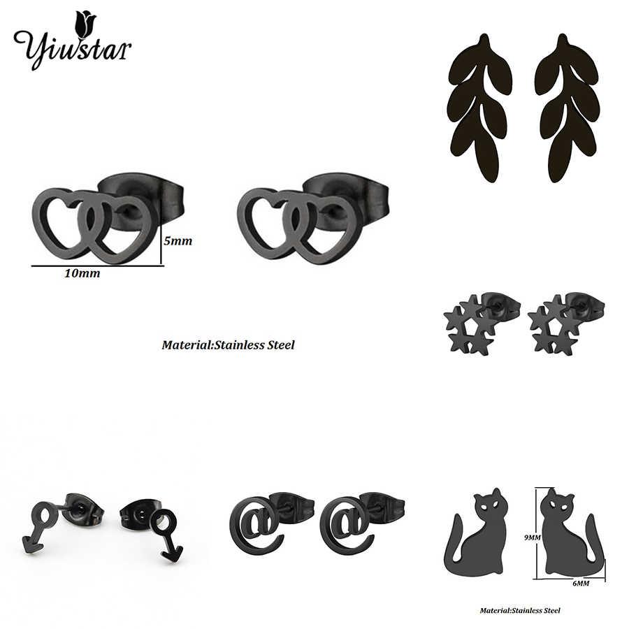 Yiustar negro Color acero inoxidable pendiente corazón hojas Luna Stud pendientes geométricos minimalista joyería accesorios regalos