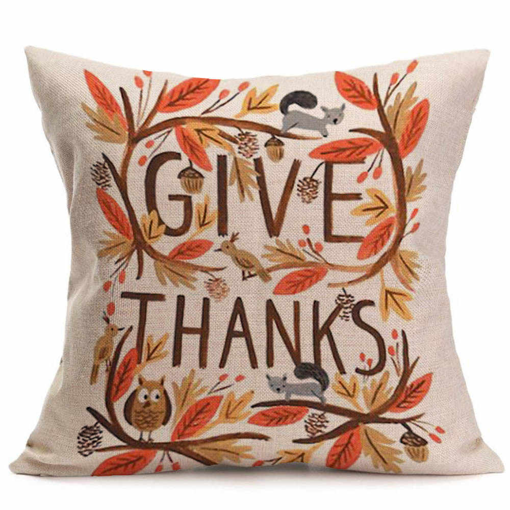 Happy Fall Linen Pillow Case Thanksgiving Day Soft Cama Sofa Cushion Cover Home Festival Party Decoration Throw Pillowcase
