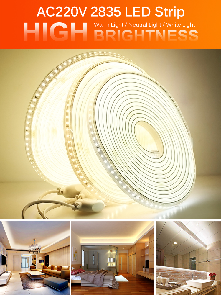 Led-Strip Outdoor Waterproof Flexible High-Brightness 220V 2835 120leds/m High-Safety