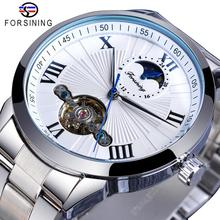 купить Forsining Classic Silver Tourbillon Automatic Mechanical Watch Men Roman Numeral Moonphase Clock Male Stainless Steel Wristwatch дешево