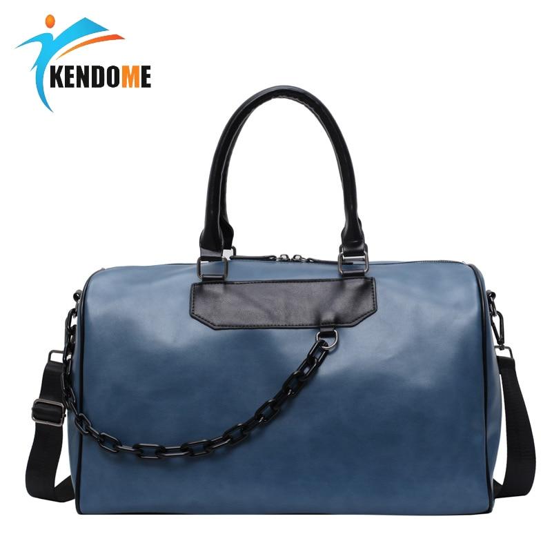 Men Sport Gym Bag Women Fitness Pu Leather Handbag Large Travel Gym Bag 2020 Black Blue Pu Shoulder Bag Sac De Sport 2 Size