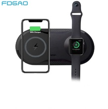 FDGAO 2 in 1 Qi Wireless Charging Dock Station for iPhone SE2 11 Pro X XS MAX XR 8 For Apple Watch 5 4 3 2 10W Fast Charger Pad