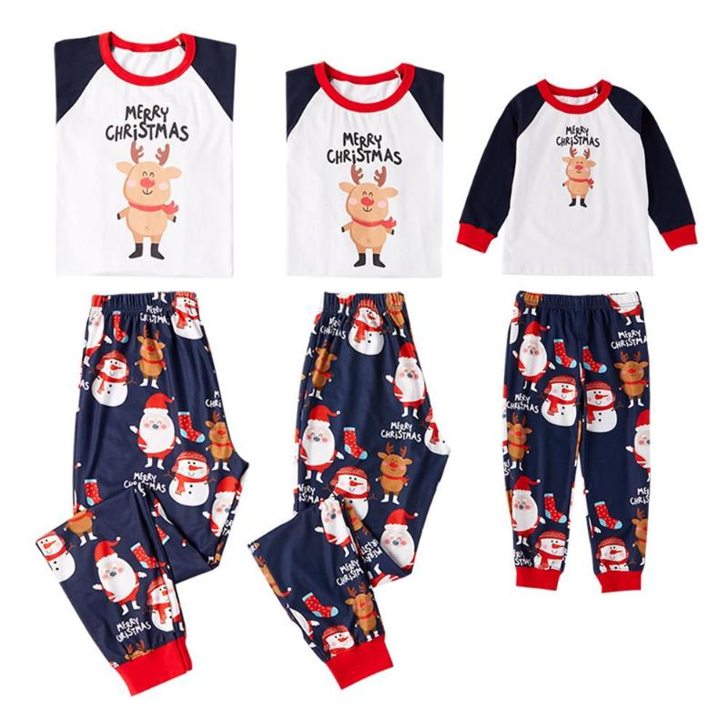 Family Outfits Xmas Letter Print Cotton Pajamas Set Parent-child Sleepwear Autumn Homewear Parent-child Outfits