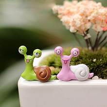 2Pcs Caracol Ornamento Do Jardim Da Paisagem Em Miniatura Casa De Bonecas Artesanais DIY Cenário Decoração Do Jardim Artesanato
