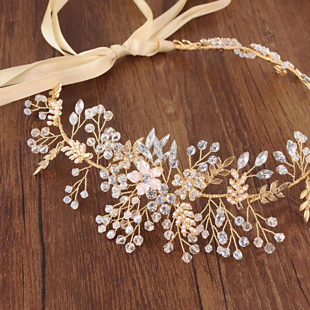 TRiXY H235 Golden Flower Bridal Hair Accessories  Bridal Crown Rhinestone Wedding Headband Wedding Hair Tiara Hair Jewelry
