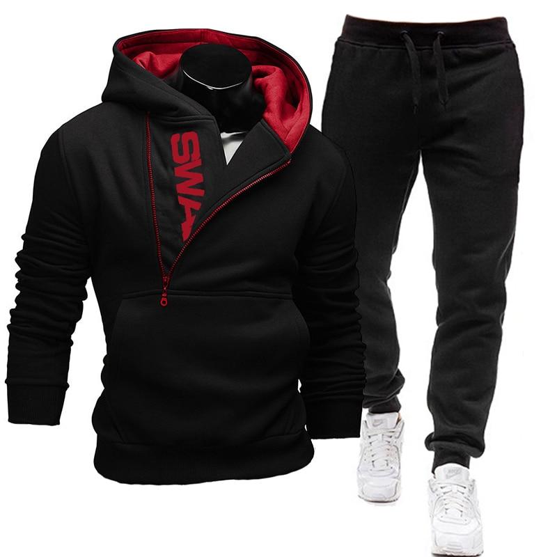 2020 Повседневный Спортивный костюм, мужские комплекты, толстовки и штаны, комплекты из двух предметов, толстовка на молнии с капюшоном, спортивная одежда, мужской костюм, одежда