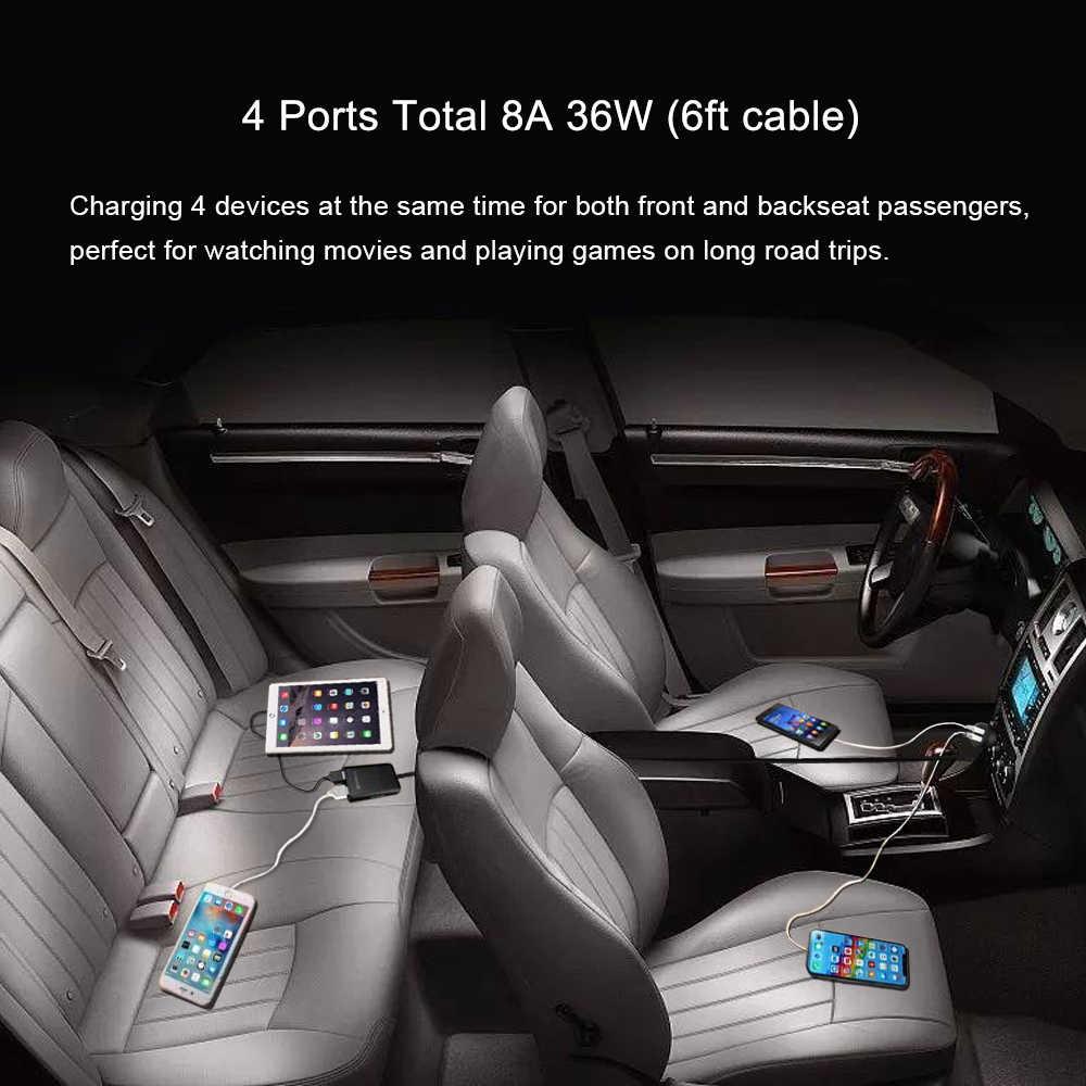 شحن سريع QC 3.0 شاحن سيارة 2.4A + 3.1A 4 منفذ USB أجزاء مع 5.6ft تمديد الحبل كابل ل المقعد الخلفي تهمة مع كليب آيفون