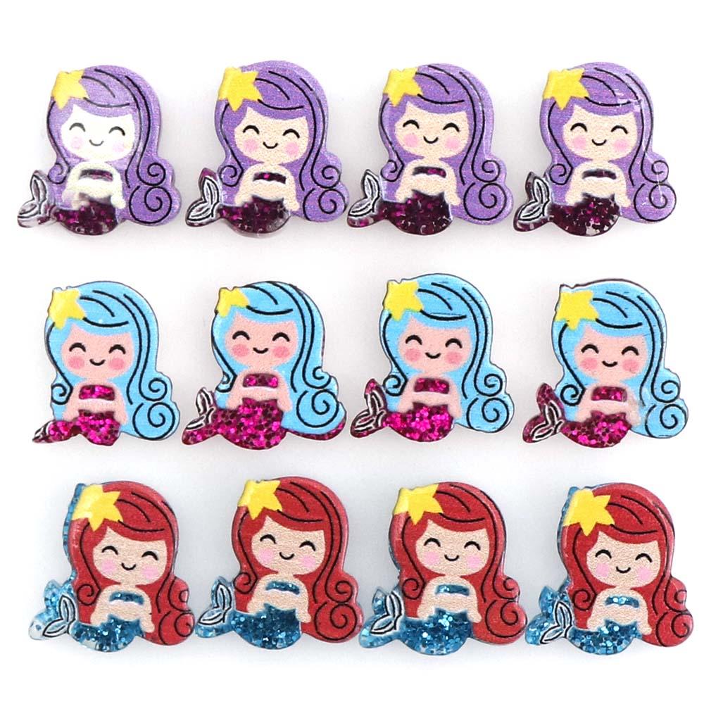 New 10PC Resin Cabochon Cute Mini Mermaid Flatback Resin Scrapbook Crafts Ornaments Home Decoration Accessories LOL Needlework(China)