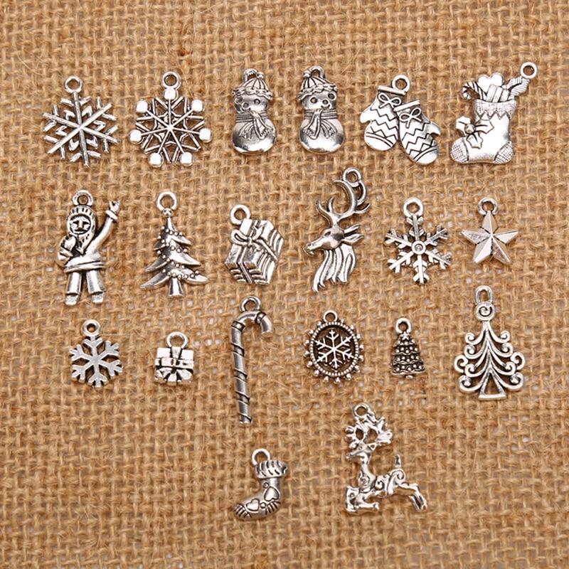 Смешанные металлические подвески в виде рождественской елки, снежинки, Санта-Клаус, 19 шт.