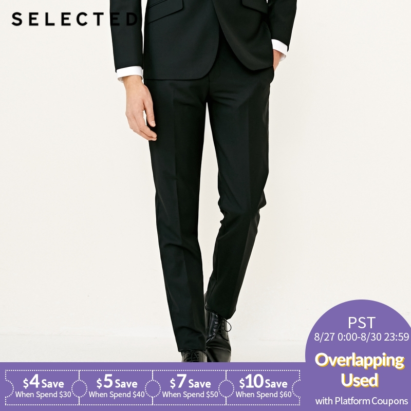 SELECTED Men's Wool-blend Slim Fit Pure Color Suit Pants T|41816B502