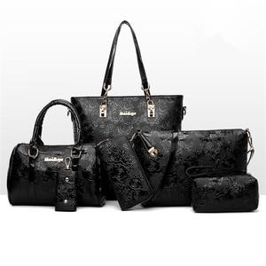 Image 2 - 6pcs/set Women messenger Bags Fashion PU Leather Vintage Shoulder bag cross body bag Tote Cool Bag Leather Women Luxury Handbags