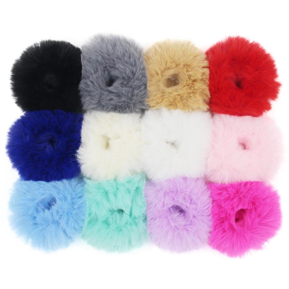 Furling Girl 1 PC Fluffy Faux Fur Furry Scrunchies Soft Hand Made Fur Elastic Hair Bands Ring For Ladies Hair Ties